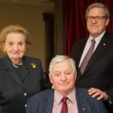 Former U.S. secretary of state Madeleine Albright, former prime minister John Turner, and former foreign affairs minister Lloyd Axworthy, pictured in Toronto at the Global Progress Evening, hosted by the Pearson Centre, April 1, 2014