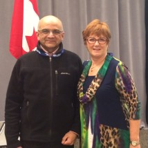 Barb Byers, executive VP of the Canadian Labour Congress, with Andrew Cardozo, President of the Pearson Centre for Progressive Policy